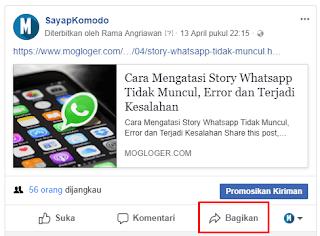 agar tidak terdeteksi spam bagikan postingan lewat fanspage facebook