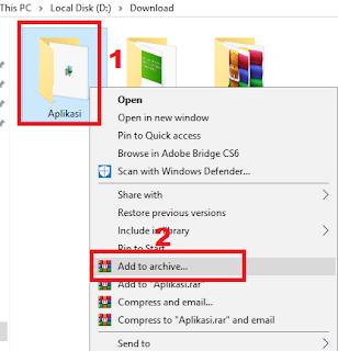 klik kanan lalu add to archive