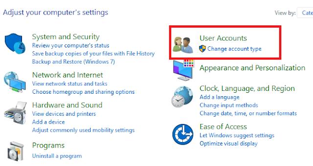 """pilih opsi akun pengguna di control panel"""""""