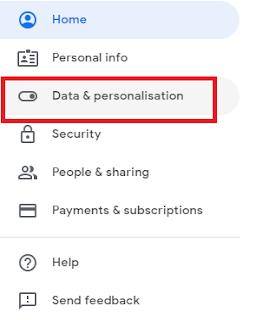 klik pada Data & Personalisation