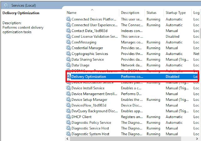 mematikan running delivery optimization