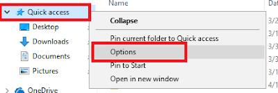 memilih menu options pada quick access