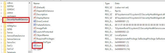 dobel klik pada folder security health service