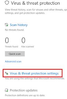 membuka virus and threat protections settings