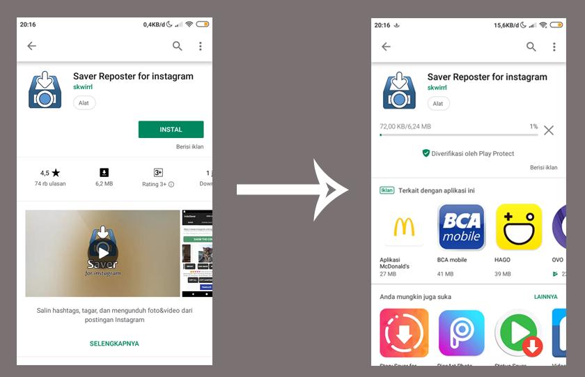 Install Aplikasi Saver Reposter - Cara Copy Caption Di Instagram