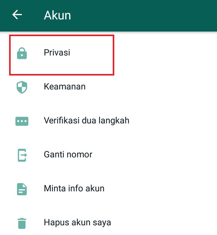 setelan akun whatsapp privasi