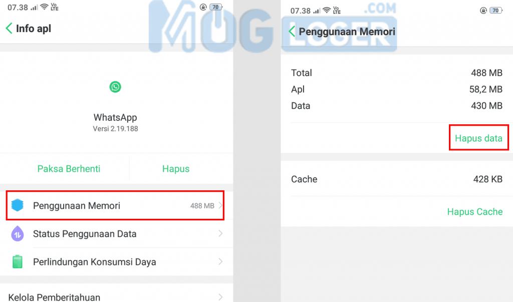 hapus data aplikasi wa