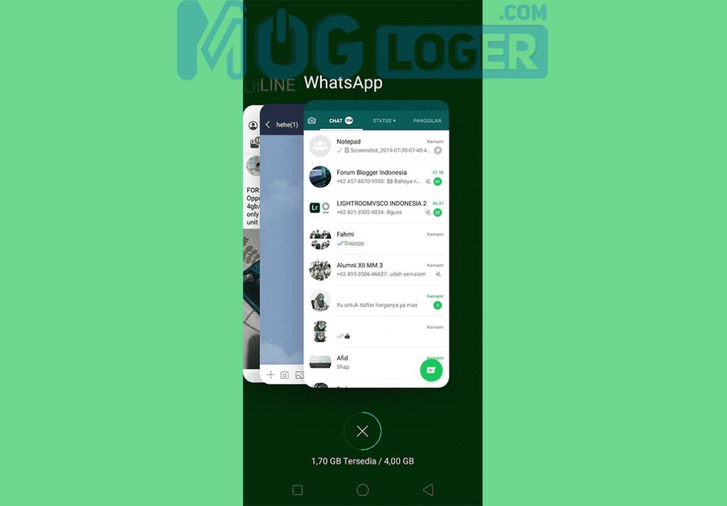 hapus recent apps whatsapp