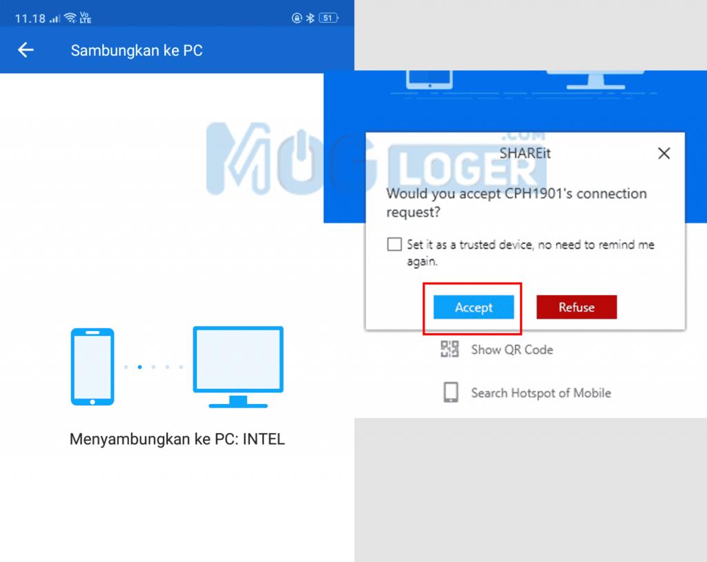 cara menyambungkan shareit android ke pc