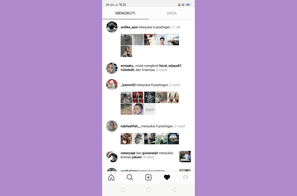 cara melihat aktivitas instagram