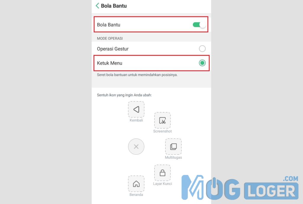 Screenshot Oppo Menggunakan Bola Bantu