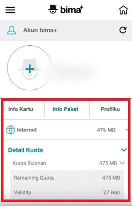 info paket di aplikasi bima+