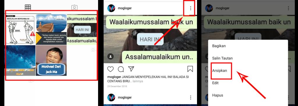 cara mengarsipkan semua kiriman di instagram