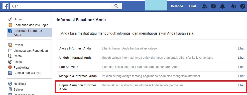 hapus akun fb