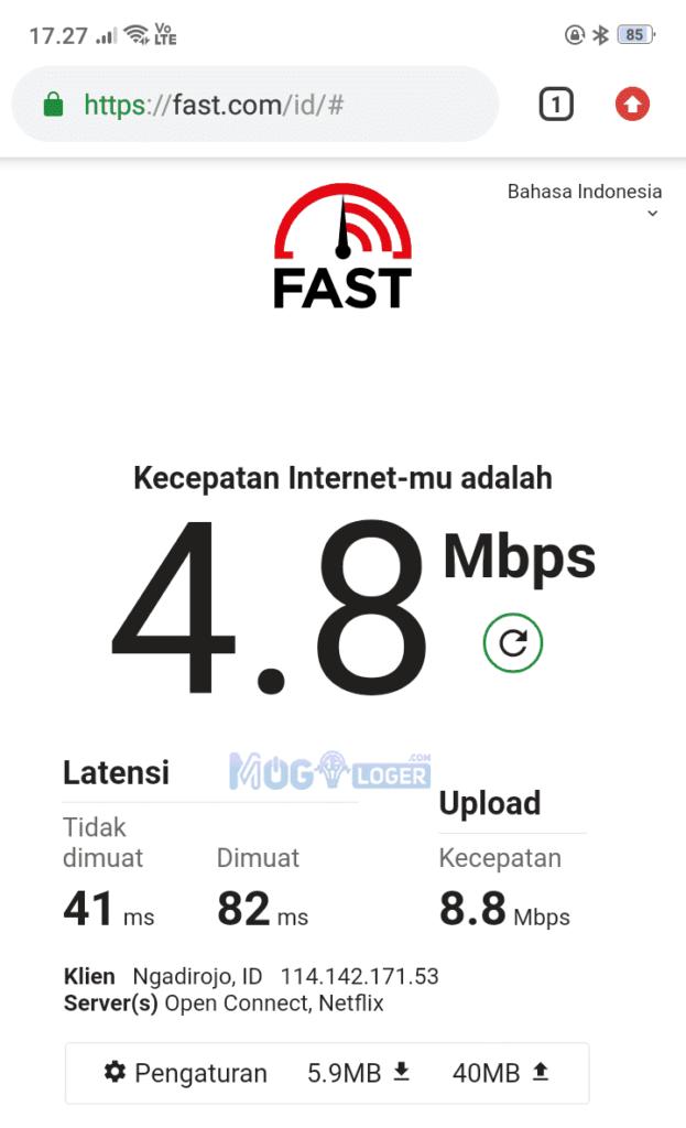hasil cek speed internet