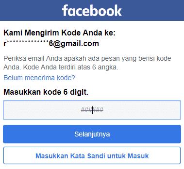 masukkan kode 6 digit dari facebook