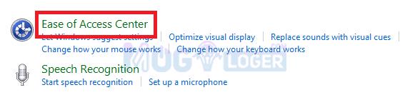 memperbaiki keyboard di Ease of Access Center