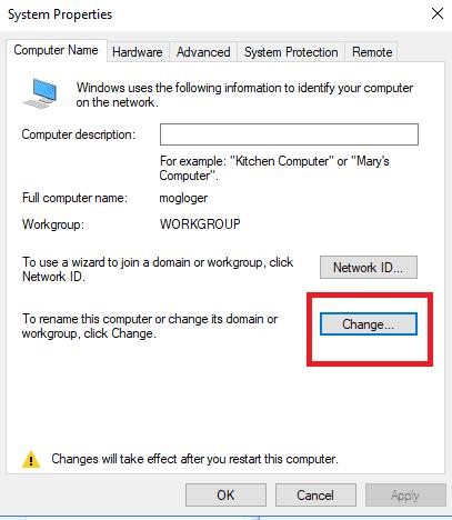 change name my computer