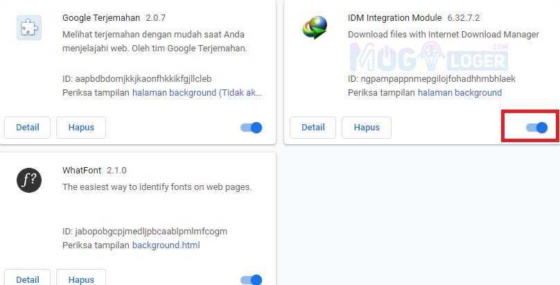 aktifkan module IDM