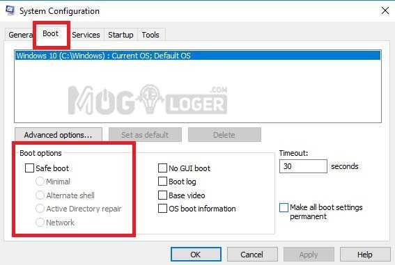 system configuration untuk setting safe mode