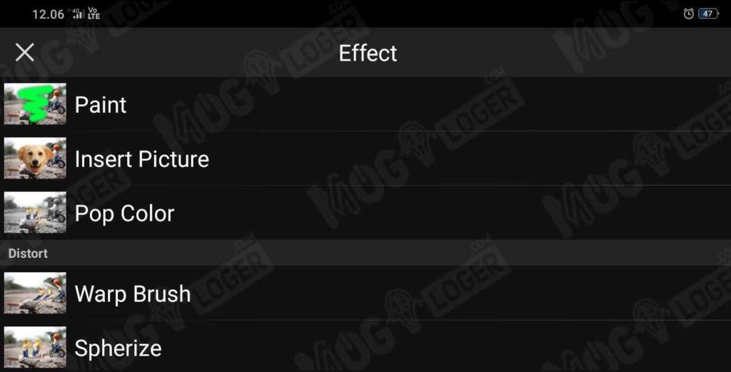 tampilan menu effect