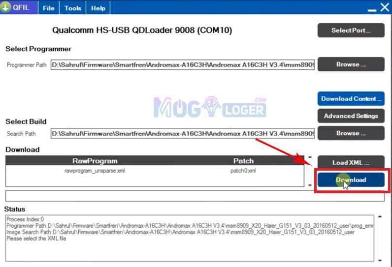 tombol download untuk memulai proses flash andromax a16c3h