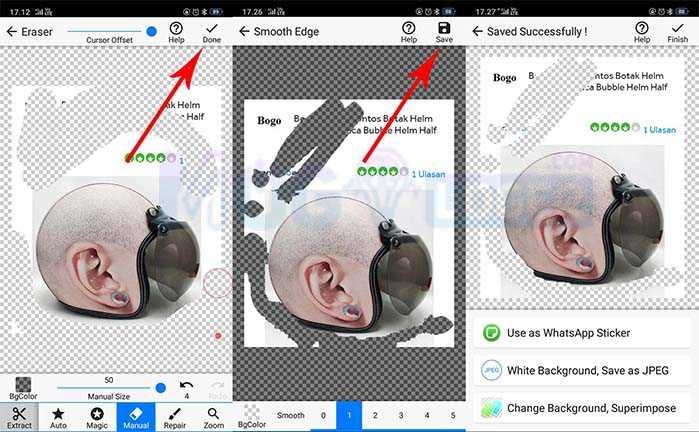 cara save foto yang dihasilkan pada background eraser