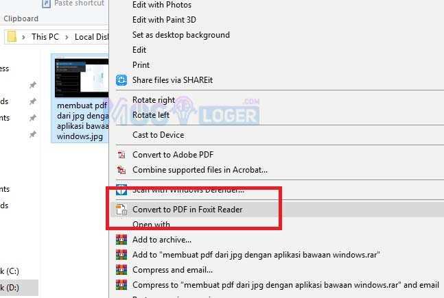 cara mengconvert jpg ke pdf dengan foxit reader