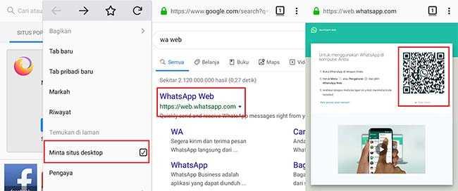 whatsapp web di hp android dengan mozilla firefox