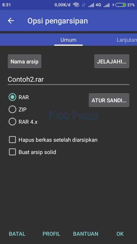 opsi pengarsipan di aplikasi rar