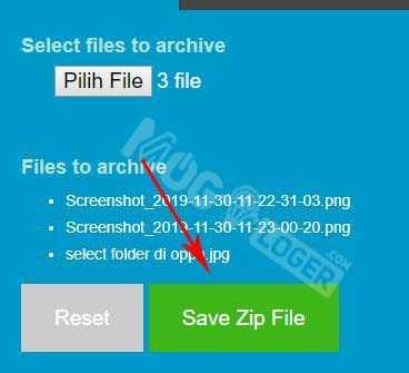 tekan save zip file untuk menyimpan