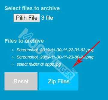 tekan zip files untuk memulai
