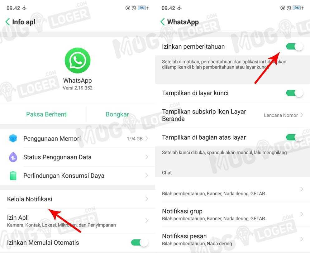 pengaturan kelola notif whatsapp