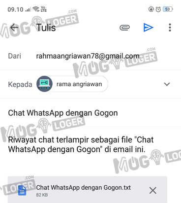 kirim email dari backup chat wa