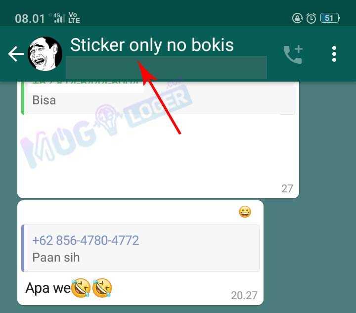 pilih grup dan tekan nama grup whatsapp