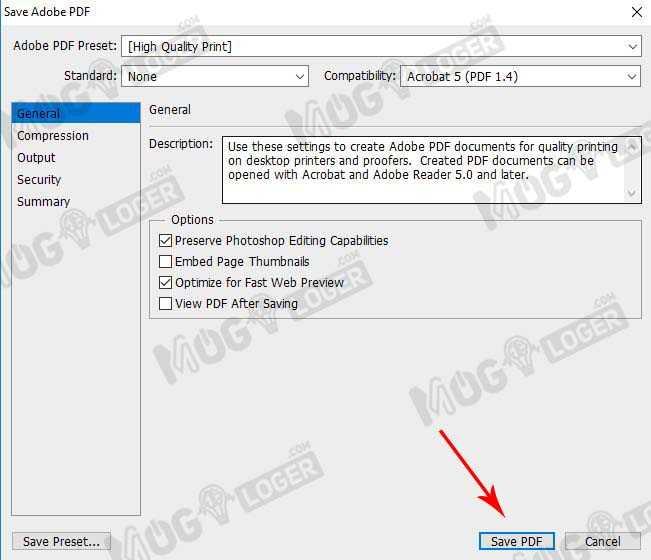 pilih save pdf di photoshop