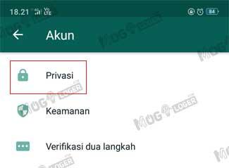 menu privasi whatsapp