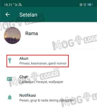 menu akun whatsapp
