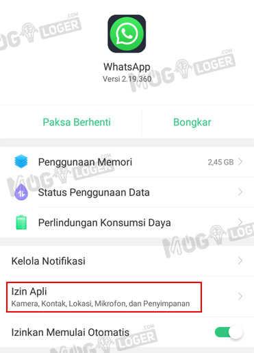 izin aplikasi whatsapp