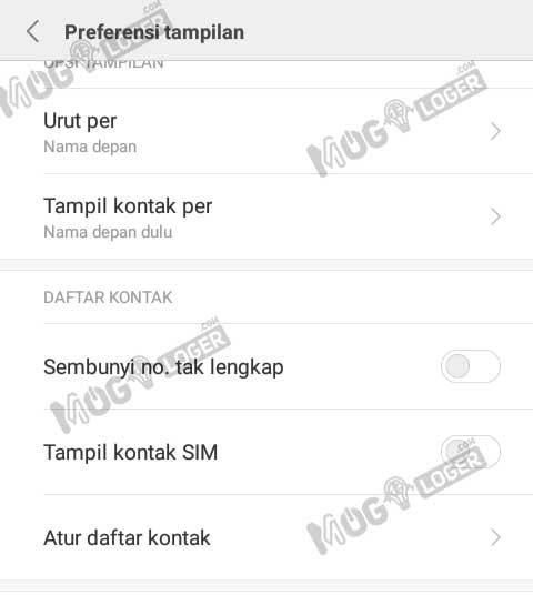 pengaturan kontak di Android