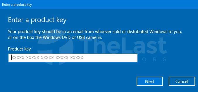 Memasukkan Kode Lisensi Windows