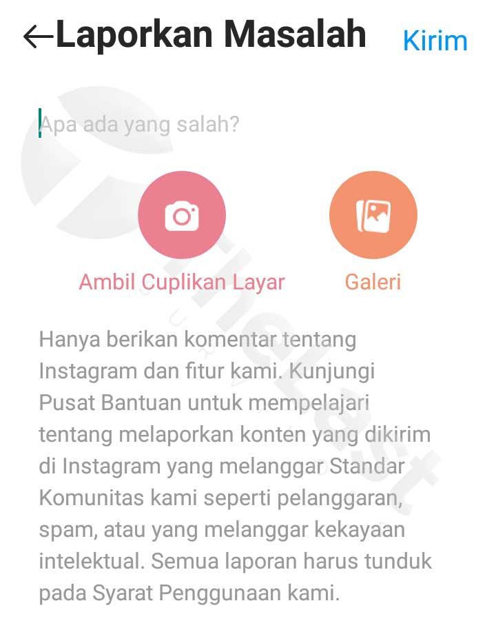 Laporkan Masalah Kamera Instagram