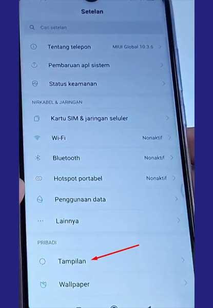 Menu tampilan Xiaomi - ketuk 2 kali xiaomi