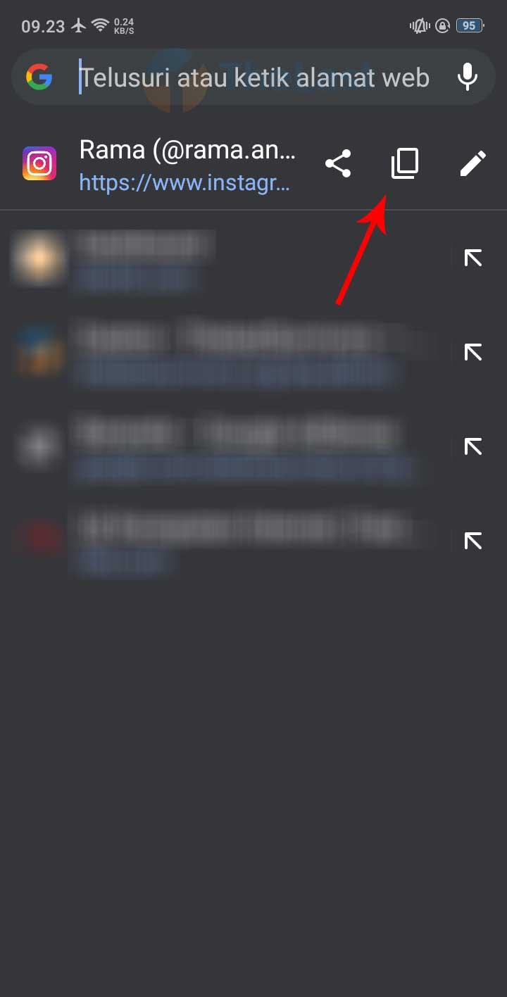 Copy URL Profil IG Akun Lain