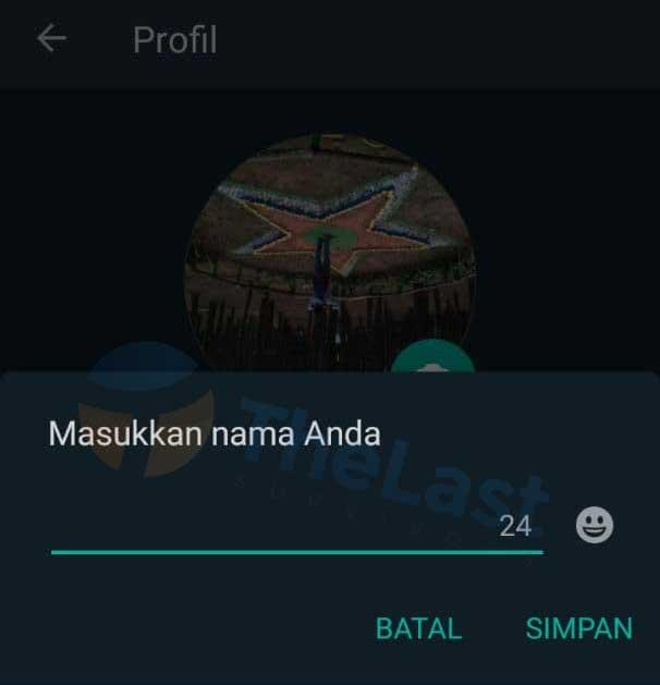 Tempelkan Blank Text Di Setelan Nama Profil WA