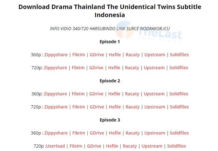 Pilih Server Download Drama Thai