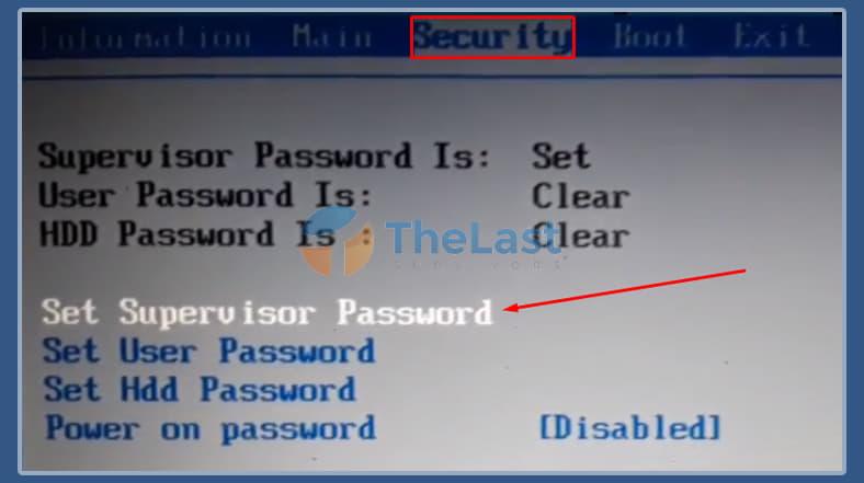 Klik Set Supervisor Passowrd - Menghilangkan Password BIOS