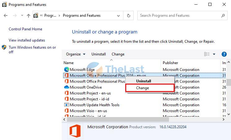 Change Microsoft Office