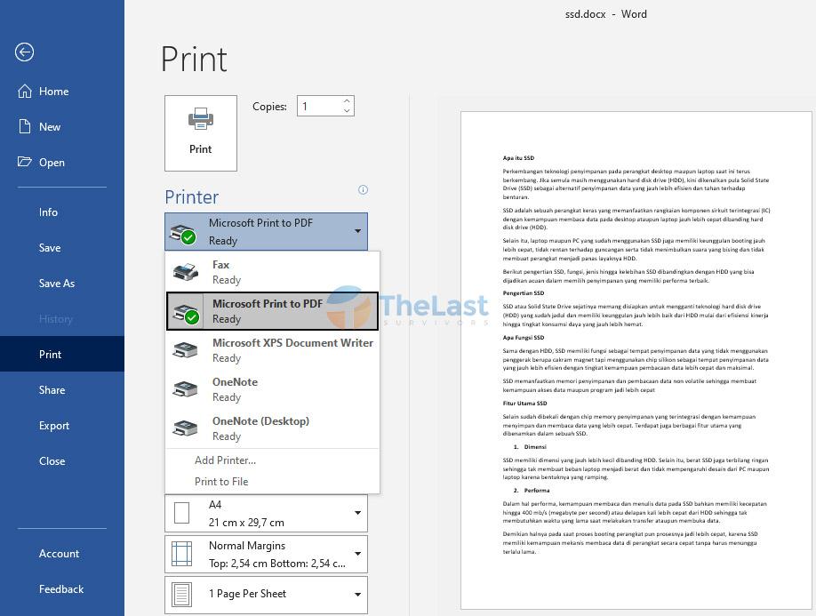 Pilih Printer Ready